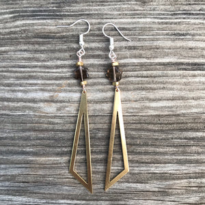 Smoky Quartz statement earrings