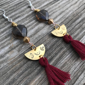 Smoky Quartz Corazon w Tassel Earrings