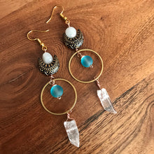 Load image into Gallery viewer, Moon Catcher Quartz Crystal earrings