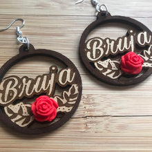 Load image into Gallery viewer, Bruja Earrings w Rose