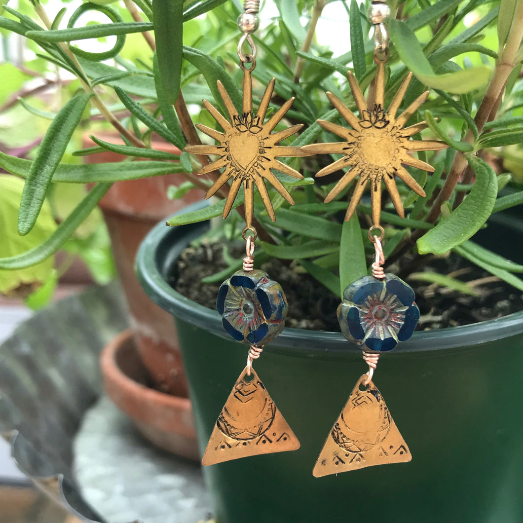 Pirámide Rising Sun Earrings