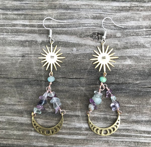 Zodiac Lunar phase  Flourite  earrings
