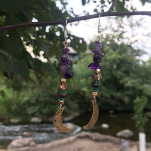 Crescent Moon Earrings Amethyst