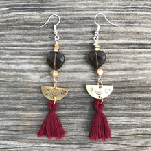Load image into Gallery viewer, Smoky Quartz Corazon w Tassel Earrings