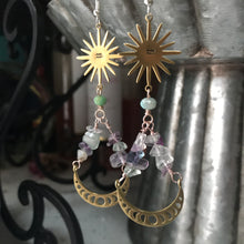 Load image into Gallery viewer, Zodiac Lunar phase  Flourite  earrings