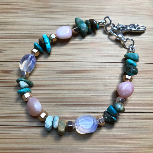 Opalite with Rose Quartz & Turquoise bracelet