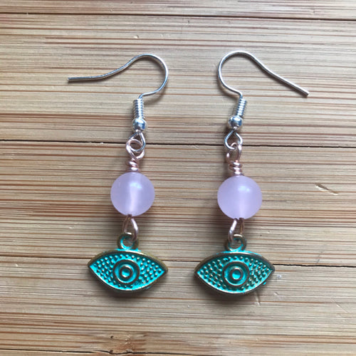 Rose Quartz Ojo Earrings
