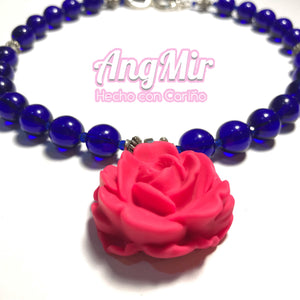 Rose necklace with Vintage Cobalt blue beads