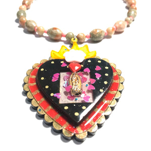 Sagrado Corazón/ Sacred Heart beaded Necklace