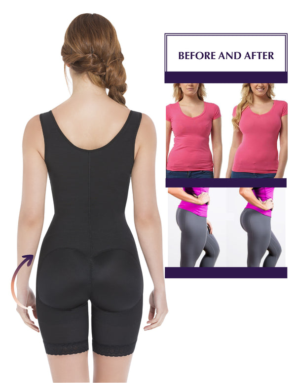 1008 Wide Straps Mid-Thigh Bodysuit Slimming Shaper