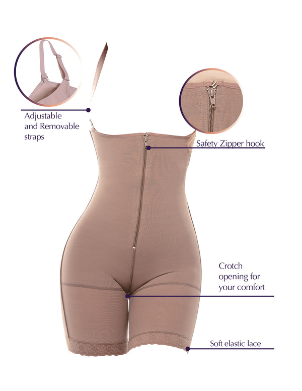 1014 Postsurgical Slimming Braless Mid-Thigh Body Shaper