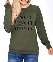Load image into Gallery viewer, Love Conquers All Sweatshirt Olive Green