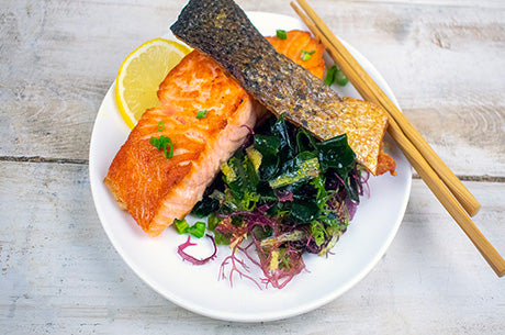 Crispy Skin Salmon with Seaweed Salad and Ginger Dressing