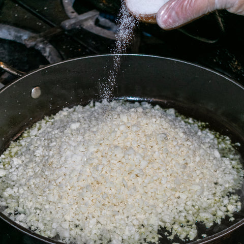 cauliflower rice with sprinkle of sea salt