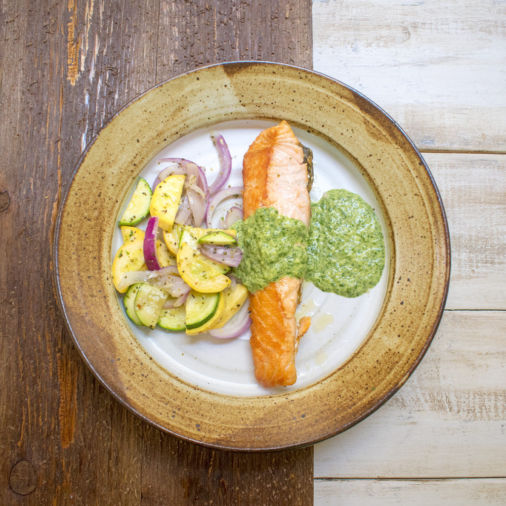 AIP Skillet Seared Salmon with Cilantro Sauce