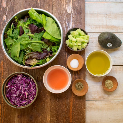 Ingredients for AIP Green Salad with Creamy Italian Dressing