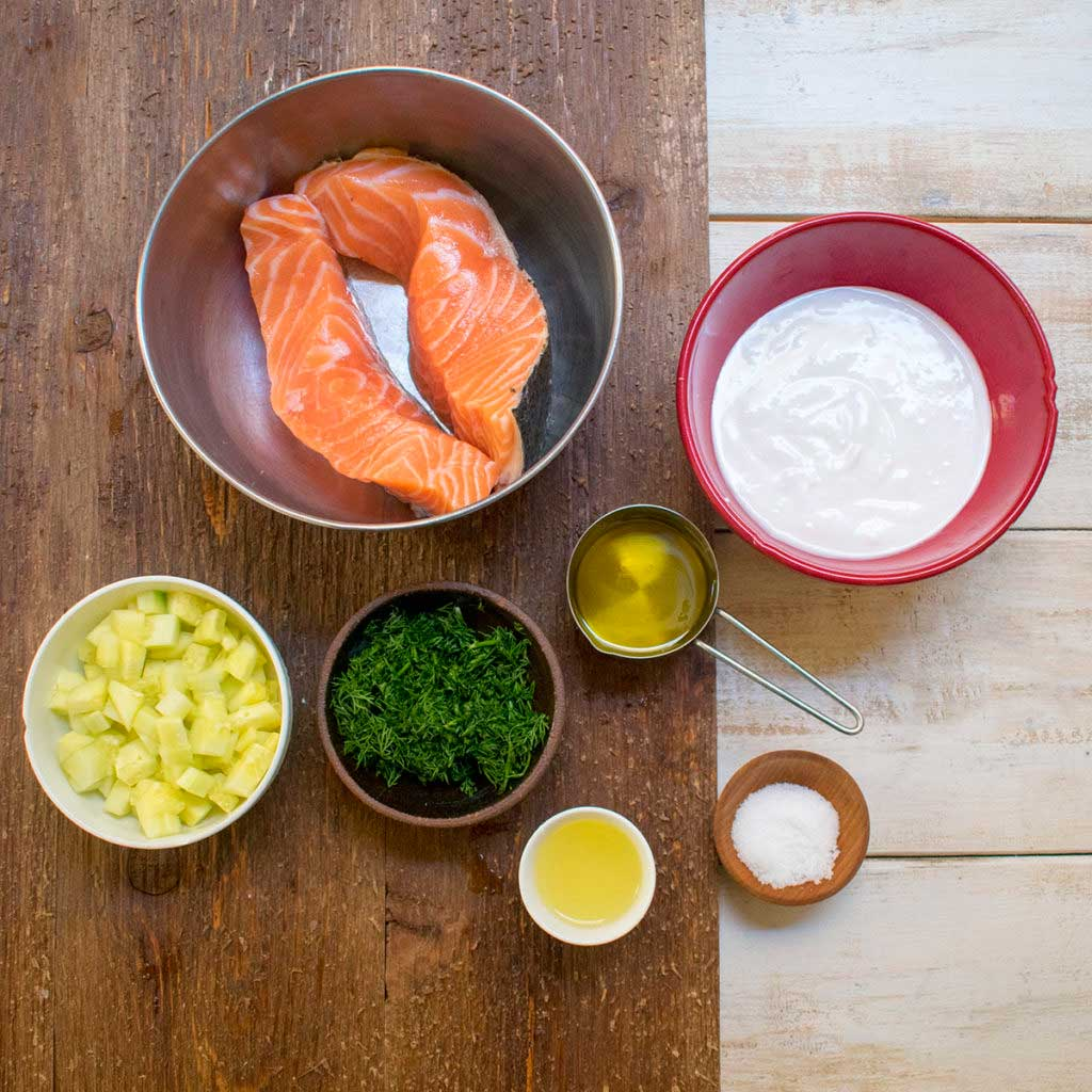 AIP Skillet Seared Salmon Filet with Cucumber Dill Sauce - Ingredients