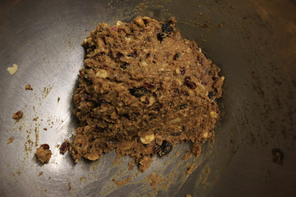 Combine ingredients to create the Paleo fruit cake batter