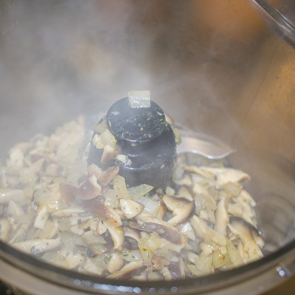 mushrooms and onions sauteeing