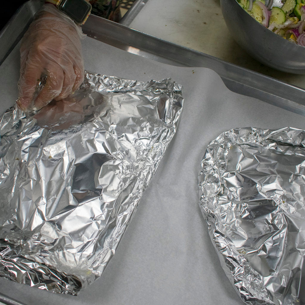wrap sides of foil inwards
