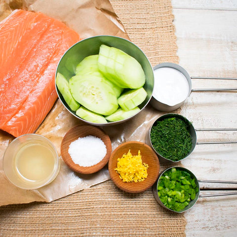 ingredients for AIP Poached Salmon Lemon Dill Salad over Cucumber Rounds