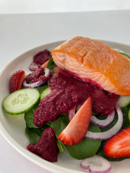 AIP Spring Spinach Salad with Seared Salmon and Roasted Beet Dressing
