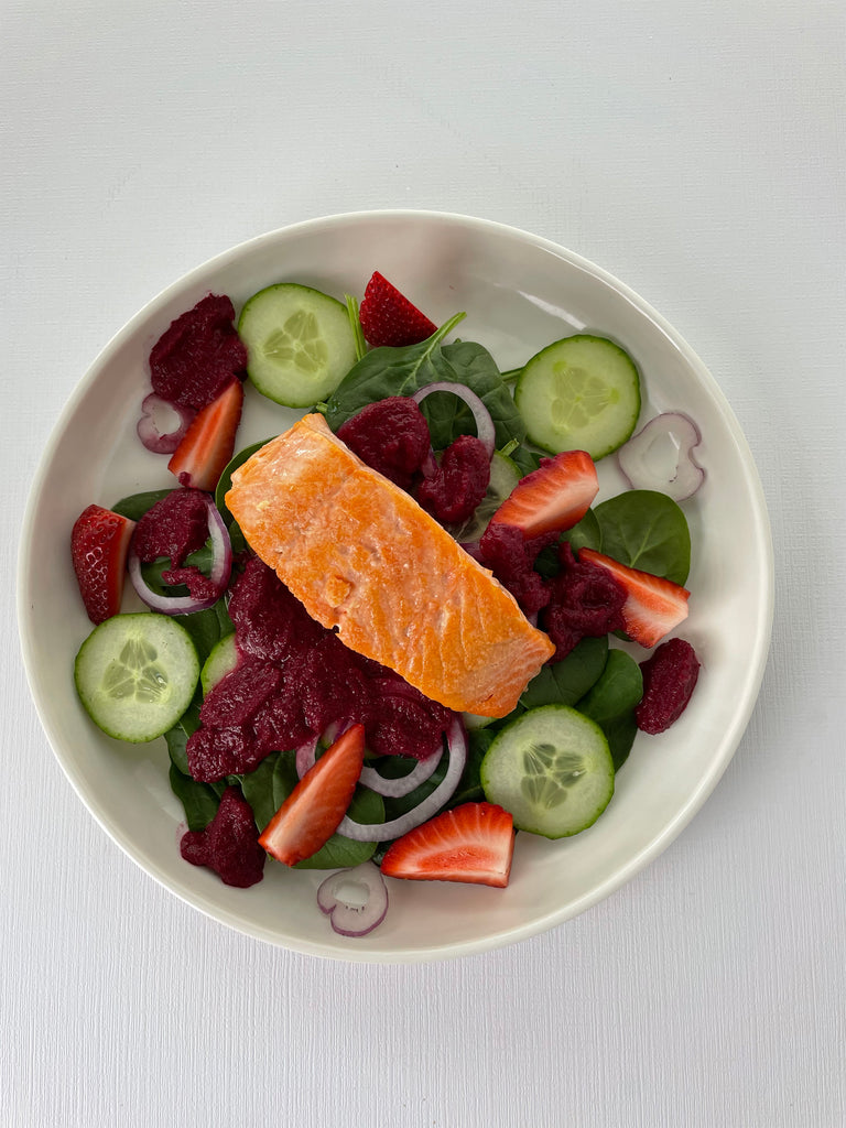 Paleo Spring Spinach Salad with Seared Salmon and Roasted Beet Dressing