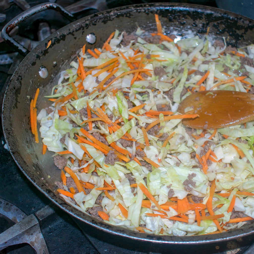 continue to stir and cook until the cabbage is slightly wilted