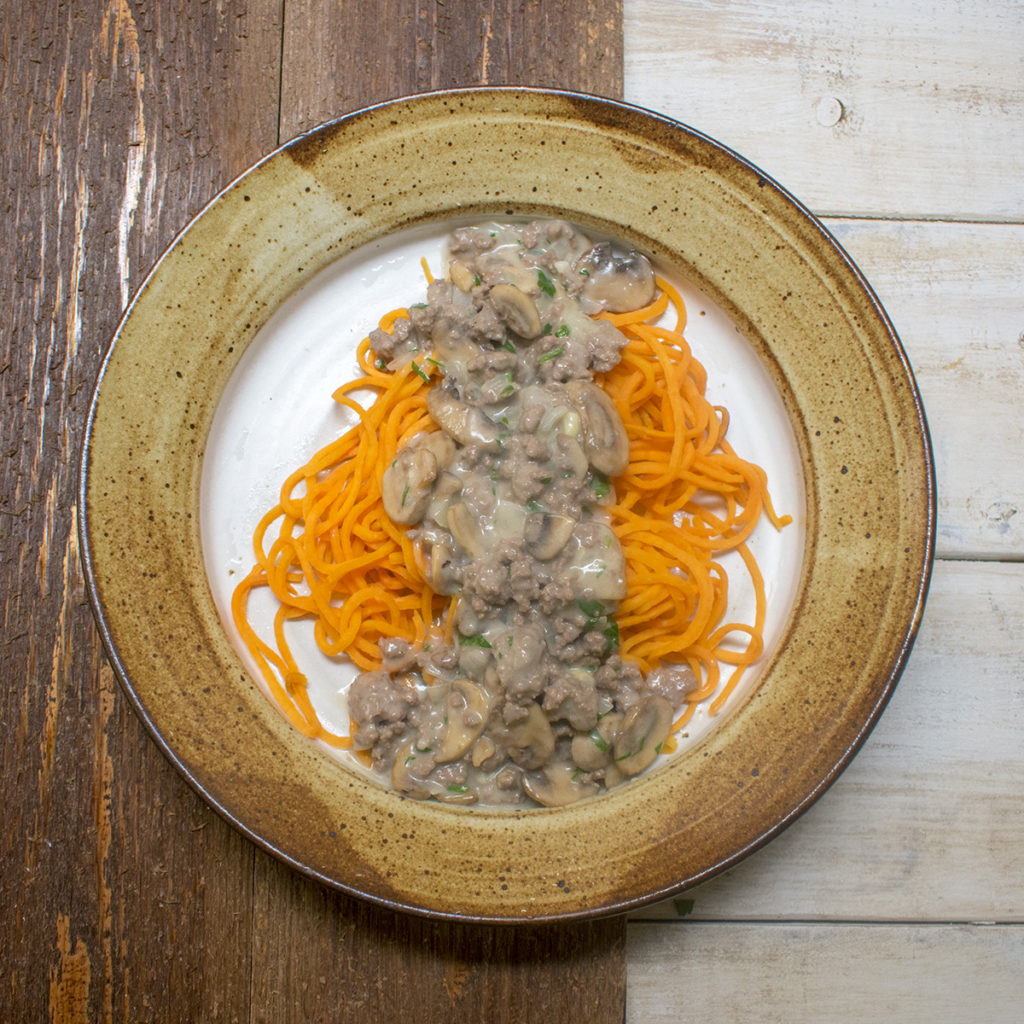 AIP Beef Stroganoff over Sweet Potato Noodles