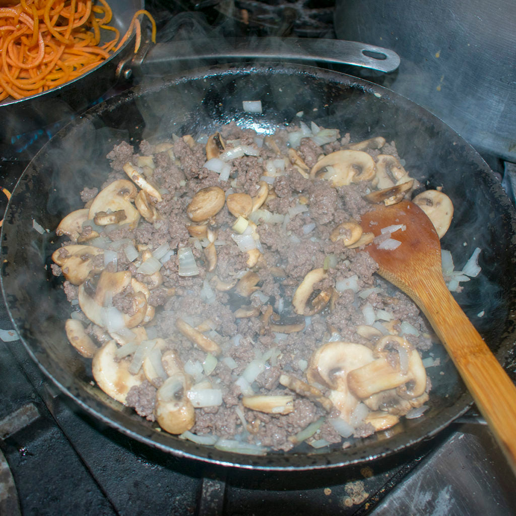 cook until the mushrooms are browned and slightly soft and the meat is cooked through