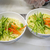 Garnish with the scallions, carrots and cucumbers