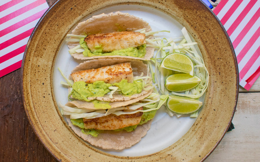 aip fish tacos with avocado crema