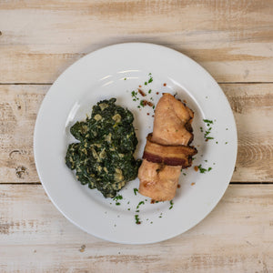 aip Bacon Wrapped Chicken with Liver Pate and Creamed Spinach