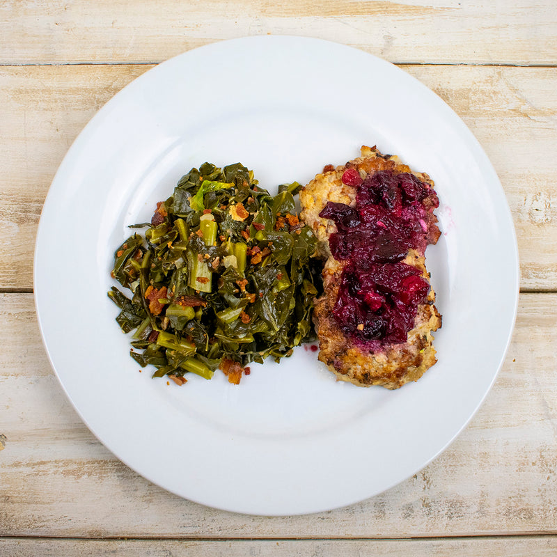AIP Paleo Bacon Apple Chicken Burger Maple Cranberry Sauce Organic Collard Greens Smoky Bacon