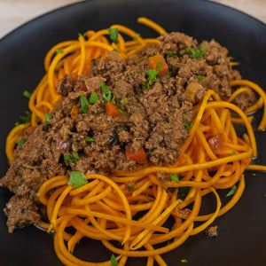 paleo orange squash noodles and beef bolognese
