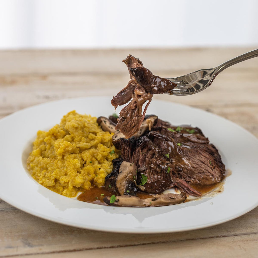 "Beef Short Ribs with Mushroom Gravy and Cauliflower ""Polenta"""