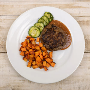 Paleo House Burger with Tamarind Ketchup, Garlic Dill Pickles and Roasted Sweet Potatoes