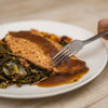 Smoked Chicken with Butternut Squash Stuffing, Spiced Apple Butter and Collard Greens