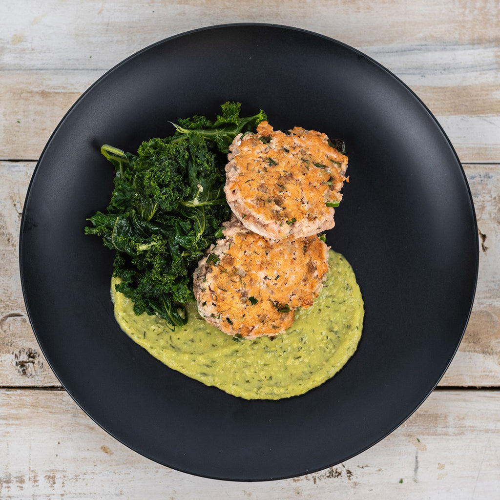 whole30 aip zesty salmon burgers with avocado sauce