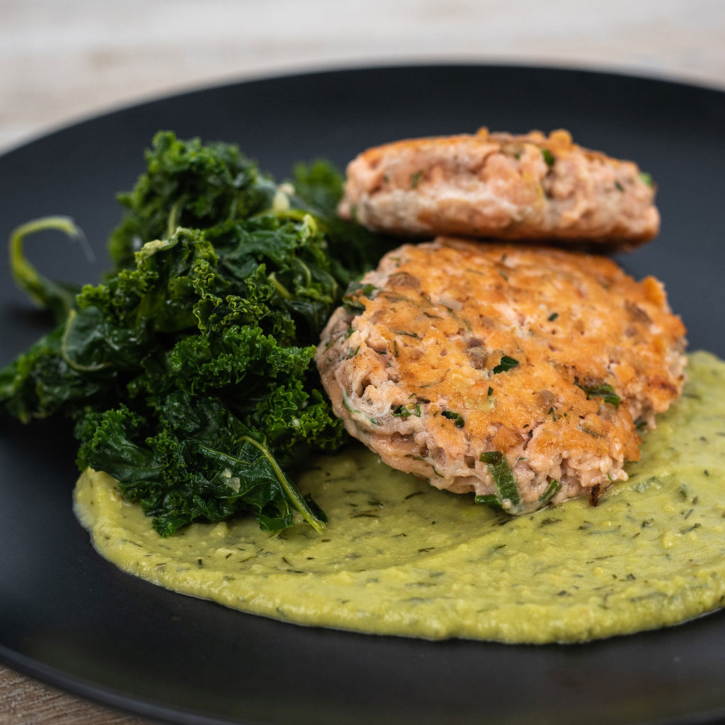 zesty salmon burgers with sauteed kale