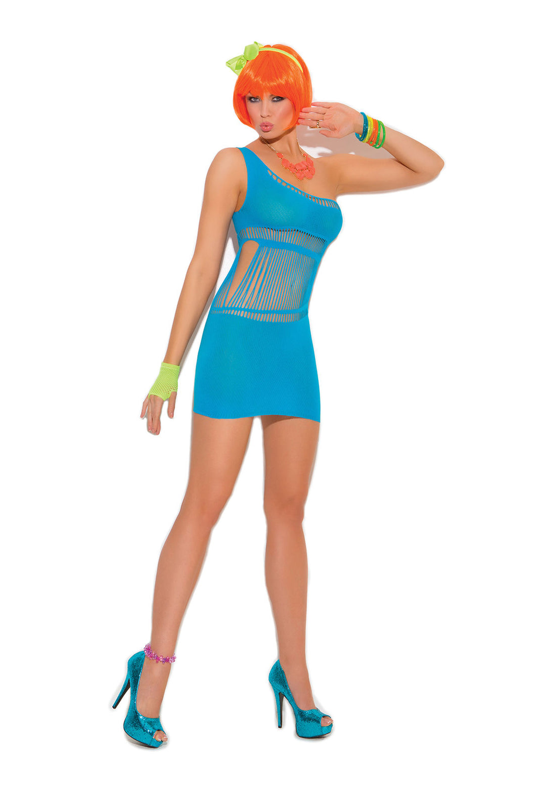 Neon Blue Opaque mini dress
