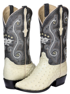 COWBOY BOOT EL GENERAL 6770-R OSTRICH SKIN BONE