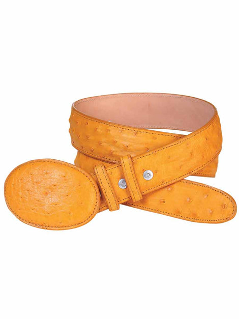 COWBOY BELT EL GENERAL AM OSTRICH SKIN BUTTERCUP