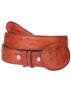 COWBOY BELT EL GENERAL IAC IMITATION OSTRICH LEATHER COGNAC