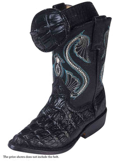COWBOY BOOT MONTENEGRO M200109 IMITATION CAIMAN LEATHER BLACK