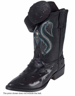 COWBOY BOOT MONTENEGRO M200209 IMITATION OSTRICH LEATHER BLACK