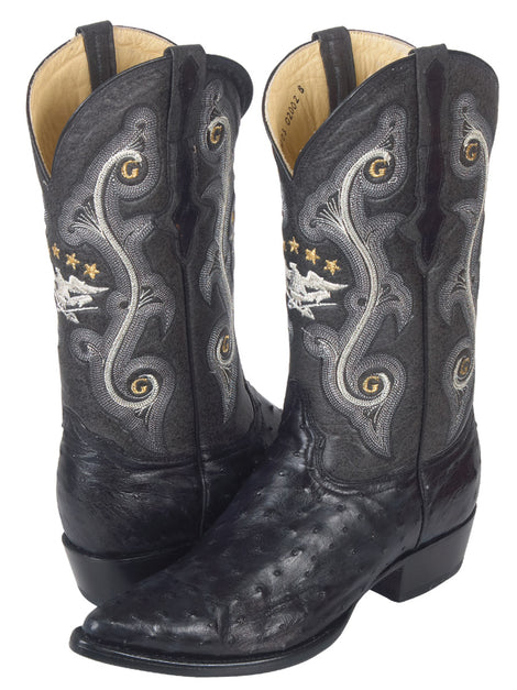 COWBOY BOOT EL GENERAL 6678-R OSTRICH SKIN BLACK