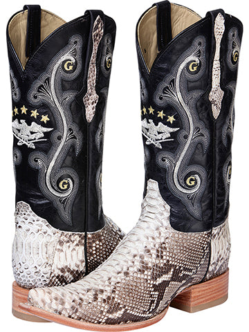 COWBOY BOOT EL GENERAL G51510 PYTHON SKIN NATURAL