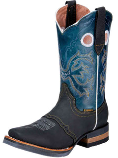 SQUARE TOE BOOT EL GENERAL 365 CRAZY HORSE LEATHER BLACK