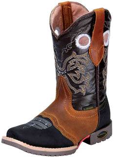 SQUARE TOE BOOT EL GENERAL E175 CRAZY HORSE LEATHER BLACK/HONEY